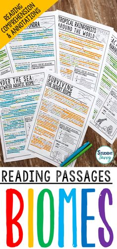 Biomes Worksheets - Reading Comprehension Passages, Questions, and Annotations This resource is designed for a Biomes unit. It contains 6 Engaging, Non-Fiction Reading Comprehension Passages with Directions for Student Annotations! Reading Comprehension Questions also included! Science Lesson Plans, Science Lessons, Teaching Science, Science Resources, Life Science, Teaching Resources, Teaching Ideas, 5th Grade Activities, Reading Activities