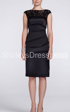 Elegant Cap-sleeve Satin Knee Length Dress with Lace Neckline