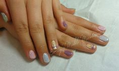 Pastel nails for Vic. Very Spring-like. CND Shellac,  Magpie Glitter Crystal and hand painted bow