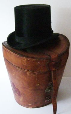 antique top hat & leather hat box