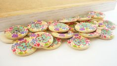 Wood Button Sewing Buttons Bold Blue Flower by thewhitetoolbox, $2.60