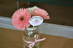 Mason Jar Centerpiece - Baby Avery: BaByQ Shower