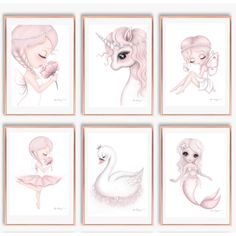 Whimsical prints, decals and personalised wall plaques for children. Nursery Decals, Nursery Prints, Nursery Art, Girl Nursery, Baby Girl Drawing, Unicorn Illustration, Unicorns And Mermaids, Girl Bedroom Designs, Unicorn Art