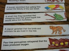 Each of the animals whispers why the tree is important to them. Children can use these sentence strips to put the story back in order or as lines to read when putting on a play - Little Beans: The Great Kapok Tree Lapbook Project