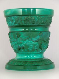 Czech Bohemian Heinrich Hoffmann Art Deco Jade Malachite Glass Vase by VintageRetroEu on Etsy