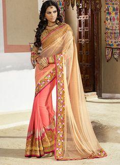 #Fabulous #Peach #Net #Chiffon #Wedding Wear #Saree at #cheap #moderate #price shop here@ http://www.fashionfiza.com/