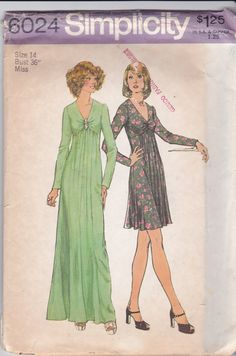 Vintage Simplicity Sewing Pattern 6024 Long or Short by Ziatacraft