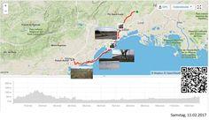 Dem Meer entlang  Vollständiger Bericht bei: http://agu.li/Rh  Nach einem letzten Auf und Ab in den Hügeln vor Montpellier, kam ich ans Meer. Schnurgerade Strecken, flach, statt Schneeverwehungen kleine Sanddünen auf dem Radweg. Erste Blumen am Wegrand. Der Frühling ist nicht mehr weit. Das GPS meint: 127.38 KM und 659 Höhenmeter.