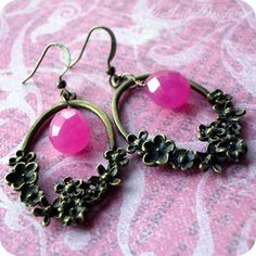 Flamenco antiqued brass floral and fuchsia by HeatherlyDesigns, $18.00