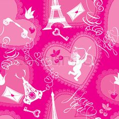 Love concept - seamless pattern with lace hearts, cup of coffee, croissant, angel, effel tower, retro phone and calligraphic text I love you. Valentine`s Day pink background
