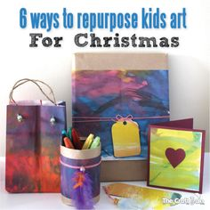 6 ways to repurpose kids art for Christmas: A guest post for Frugal Homeschool Family 25 Frugal Days of Christmas series.