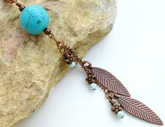 LONG TURQUOISE and COPPER Necklace // Turquoise by prayerfeather, $31.00