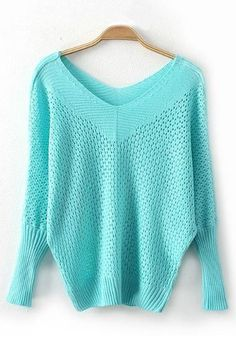 Green Hollow-out Long Sleeves Irregular Sweater