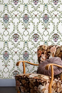 Classic medallion pattern meets the tattoo world. The result is a deadly exciting design. #skulls #wallpaper #wallmurals