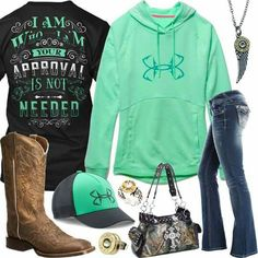 I Am Who I Am Under Armour Fish Hook Hoodie Outfit - Real Country Ladies You are in the right place about modest Country Outfit Here we offer you the most beautiful pictures about the Country Outfit f Cowgirl Style Outfits, Country Style Outfits, Country Fashion, Cowgirl Outfits, Western Outfits, Redneck Outfits, Cowgirl Clothing, Cowgirl Fashion, Outfits For Teens