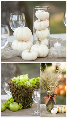 If you love fall and are looking forward to decorating your wedding with fall accents, you'll love these next three unique fall centerpieces. $10 or less!  1. This is one of my favorite looks because it is unique and very simple. White pumpkins give your tables an elegant fall look. Layer a burlap runner with a sheer organza fabric. Place glass  ...