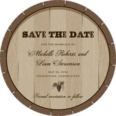 Signature White Save the Date Circle Cards Charming Cask - Front : Wood