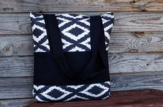 Black and White Tote bag 100% cotton bag Grocery by YourHomeMarket