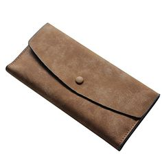 Egmy Fashion Women Scrubs PU Leather Soft Card Holder Purse Wallet Bag Long Coffee * Read more  at the image link.