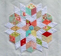 BEST: English Paper Piecing -star with great quilt stitches Star Quilts, Mini Quilts, Quilt Blocks, English Paper Piecing, Paper Piecing Patterns, Quilt Patterns, Quilting Projects, Quilting Designs, Quilting Tutorials