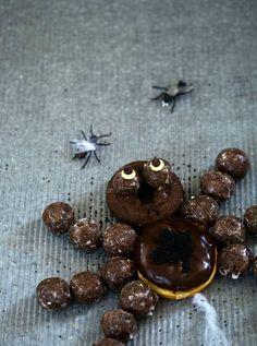 Halloween recipes for goblet graves, candied apple skulls, vampire doughnuts, doughnut spider