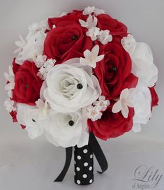 "Wedding Bridal Bouquet Silk Flowers bouquets Decoration 17 pieces Package RED BLACK Polka Dot ""Lily Of Angeles"""