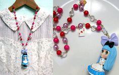 OH. MY. GOD. !!! Lolita Style Kawaii Alice in Wonderland Blythe Doll Beaded Necklace Only Piece. $42.00, via Etsy.
