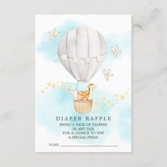 Baby Animals Hot Air Balloon Diaper Raffle Ticket Enclosure Card Balloon Rides, Hot Air Balloon, Baby Shower Invitation Cards, Pack Of Diapers, Unique Baby Shower Gifts, Diaper Raffle Tickets, Safari Party, Gender Neutral Baby Shower, Newborn Baby Gifts