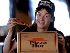 Pizza Hut in Wayne's World Movie Scenes Eat Pizza, Pizza Hut, Pizza Menu, Waynes World Excellent, Shameless Movie, Wayne's World, Back In The 90s, Show Me The Money, Pizza Party
