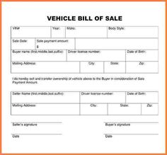 Automotive Bill Of Sale  Bill Of Sale