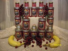Cranana Jamma: Cranberries,Bananas,Water,Sugar,Lemon Juice  I must confess, I eat it right out the jar, it is also like a very healthy desert, I also put t on my oatmeal in the winter.