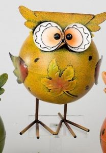 Dekofigur Wackeleule Herbsteule mit Blatt Metall 21 cm in gelb