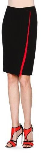 Giorgio Armani Silk Cady Faux-Wrap Skirt, Black/Red