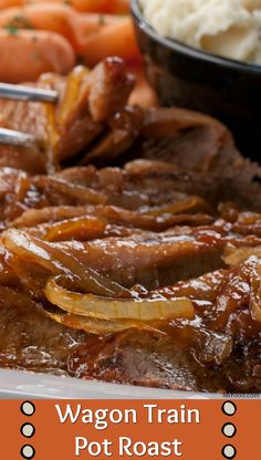 This old west-style hearty beef brisket is sure to be a welcome addition to your table as the days get cooler. Big on taste and short on work, our Wagon Train Pot Roast is sure to be a family favorite. Easy Roast Beef Recipe, Roast Beef Recipes, Slow Cooker Recipes, Crockpot Recipes, Cooking Recipes, Meat Steak, Crockpot Dishes, Food Dishes, Main Dishes