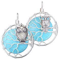 These owl on a branch pendants are painstakingly created individually every time. Each Turquoise Magnesite gemstone moon is hand-selected for its quality and flawless appearance. Sterling silver wire is twisted and shaped to form each branch as a delicate homage to nature.