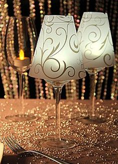 Wine Glass Vellum Lamp Shades - Set of 12 COULD BE DIY PERSONALIZED NICE ADDITION TO TABLE 3-4 per table