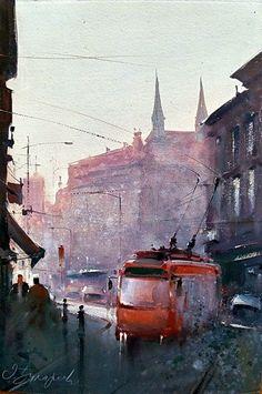Dusan Djukaric Red trolley, Crvena trola, 38x56 cm