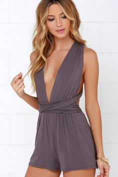 f920195a1e40 Dusty-purple Plunge V-neck Sleeveless Multiway Self-tie Backless Playsuit  -YOINS