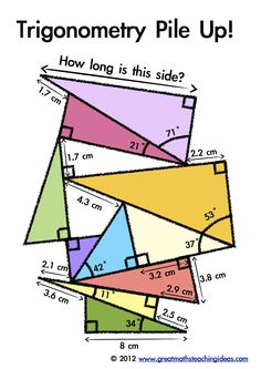 Trigonometry Pile Up - Assessment or Activity: Pythagorean and Cosine use - Mathe Ideen 2020 Teaching Geometry, Teaching Math, Teaching Ideas, I Love Math, Fun Math, Math Math, Math Help, Math Teacher, Math Classroom