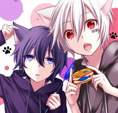 Utaites Soraru and Mafumafu with cat ears :3