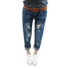 dd749d35b1b Hot Sale Style Women Hole Ripped Jeans Loose Plus Size Harem Pants  Spring&Summer Low-waist Ankle-length Femme Denim Pants