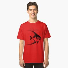 'Adventurer The Fish' Classic T-Shirt by Beer-Bones Eagle Design, Golden Eagle, American Women, Tshirt Colors, Wardrobe Staples, Female Models, Fabric Weights, Classic T Shirts, Shirt Designs