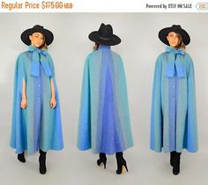SALE 80's Ombré Wool Cape by discoleafvintage on Etsy