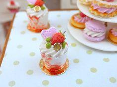 Strawberry Sundae Miniature Food by ParisMiniatures,