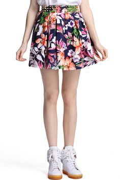ROMWE   Riveted Floral Skirt, The Latest Street Fashion #ROMWE