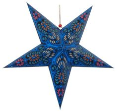 "Star Paper Lantern 24"" Blue Color w/ Pattern"