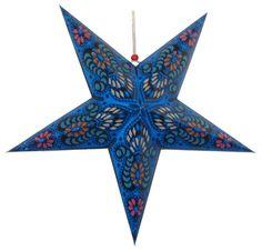"Star Paper Lantern 24"" Blue Color w/ Pattern"