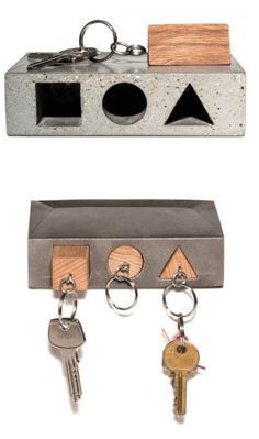 Haus Key Holder concrete and wood