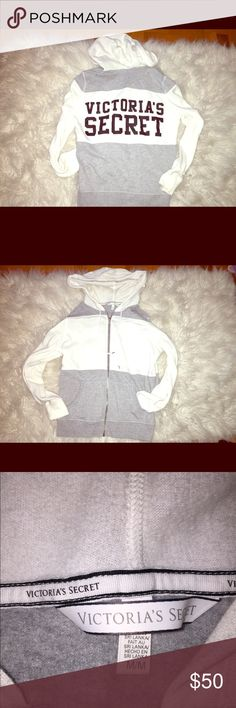 Victoria Secrets Hoodie BRAND NEW VERY CLEAN!! White and gray victoria secret hoodie. has angle wings has the zipper and back says victoria's secrets Victoria's Secret Tops Sweatshirts & Hoodies
