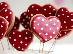 Kuchenlollies in Herzform